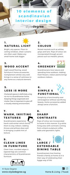 10 Elements Of Scandinavian Interior Design Scandinavian or Scandi interior design style is widely popular around the world. So, here's a handy infographic on 10 elements that make up the Scandi home interior style! Scandinavian Home Interiors, Scandinavian Style Home, Scandi Home, Scandinavian Interior Design, Scandinavian Living, Scandi Style, White Interiors, Colorful Interiors, Design Hall
