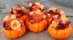 Mini pumpkins for cocktail tables