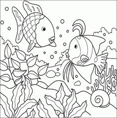 Tropical fish in the ocean - Free Printable Coloring Pages