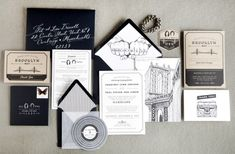 Brooklyn Wedding Invitations by Swiss Cottage Designs via Oh So Beautiful Paper (12)