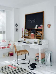 Office:Some Great Tips For Home Office Design Ideas Elegant White Scandinavian Home Office Design Idea With Blackboard