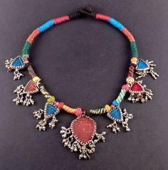 Rajasthan silver and glass old amulet necklace - indian ethnic jewelry