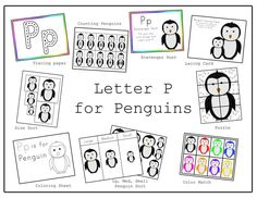 The week before last we did the Letter P. I wanted to go with the winter theme so I made some printables for Penguins. Letter P Worksheets, Letter P Activities, Preschool Letters, Preschool Themes, Preschool Printables, Classroom Themes, Free Printables, Motor Activities, Winter Fun