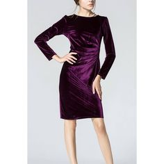 Yoins Purple Long Sleeve Body-Conscious Velvet Dress (€31) ❤ liked on Polyvore featuring dresses, purple, mid length dresses, long-sleeve velvet dresses, long sleeve dress, purple dress and longsleeve dress