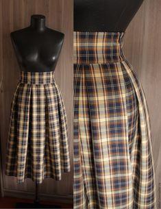 Купить Юбка со складками - юбка, юбка в складку, юбка миди, юбка в клетку
