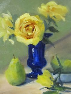 Pat Fiorello - Art Elevates Life: Roses & Pears,Oil Painting http://patfiorello.blogspot.com/2015/01/roses-pears.html