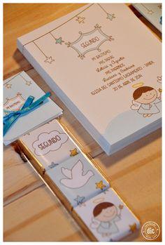 Estampas de Bautismo varón + souvenir. Chocolates personalizados.
