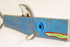 Whimsical wood fish sculpture found object by SwimminwitdaFishes, $70.00