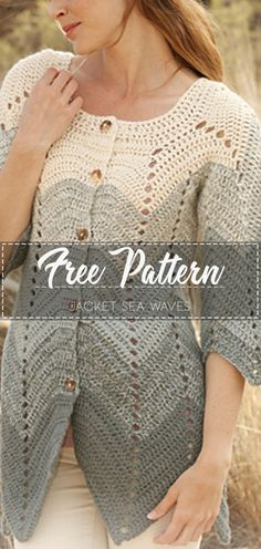 Jacket Sea Waves – Free Pattern - Crochet Clothing and Accessories Gilet Crochet, Crochet Coat, Crochet Cardigan Pattern, Crochet Shirt, Easy Crochet, Crochet Clothes, Crochet Sweaters, Knit Baby Dress, Beautiful Crochet