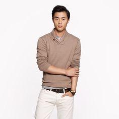 Cotton-cashmere shawl-collar sweater