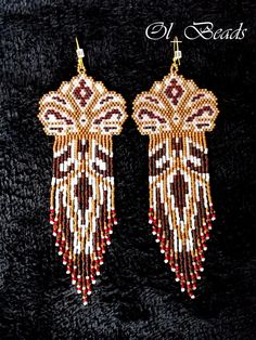 Native American Style Earrings, OOAK Beaded Earrings, Seed Bead Earrings, Long Fringed Earrings, Delica Seed Beads