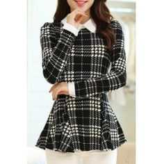Fashionable Flat Collar Checked Print Slimming Long Sleeve Women's Blouse