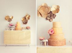 gold paper flowers