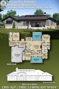 House Plan 430068LY gives you 2,800+ square feet of living space with 3 bedrooms and 3.5 baths. AD House Plan #430068LY #adhouseplans #architecturaldesigns #houseplans #homeplans #floorplans #homeplan #floorplan #houseplan Ranch House Plans, New House Plans, Modern House Plans, Plumbing Drawing, Farmhouse Plans, Rocking Chair Porch, Ceiling Treatments, One Story Homes, Contemporary House Plans