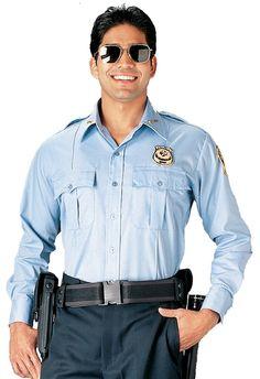 f6b6c447c Police & Security Uniform Shirt Light Blue or White Long Sleeve Work Shirts  S-2X