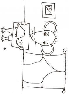 coloriage Coloriage enfant : Coloriage Mimi souris dans son salon