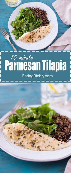 Hands down the best tilapia recipe ever. Flavorful lemon parmesan tilapia is quickly broiled for a delicious tilapia recipe that's 15 minutes start to finish! Perfect for unexpected company or dinner at the end of a long day. From EatingRichly.com