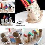 Pencil/tool holder out of toilet paper rolls