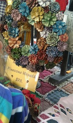 Pinecone wreath. I am totally doing this!