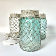 Wrap jars with decorative fisherman netting to get a coastal or nautical look for your home.