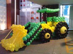 Tractor Balloon Arrangements, Balloon Centerpieces, Balloon Garland, Balloon Decorations, Balloon Cars, Balloon Animals, Construction Birthday Parties, Construction Party, Balloons Galore