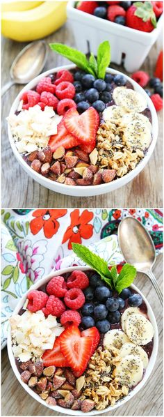 Berry Banana Smoothie Bowl Recipe on twopeasandtheirpod.com This easy and…