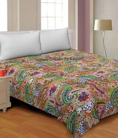 Large Selection : Cotton Kantha Indian Quilts Throw Bedspread Handmade Bedding Blanket Hippie Paisley Quilt Coverlets Boho Handmade Quilts Bohemian Quilt, Boho, Kantha Quilt, Paisley Quilt, Paisley Pattern, Indian Quilt, Indian Blankets, Quilts For Sale, Quilted Bedspreads