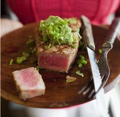 Tuna with Avocado-Wasabi Puree. Consider caramelizing some of the marinade for drizzling. Serve with pickled ginger and cucumber salad or cherry tomato-red onion salad. Fish Recipes, Seafood Recipes, Appetizer Recipes, Great Recipes, Cooking Recipes, Favorite Recipes, Recipies, I Love Food, Good Food