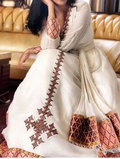 Ethiopian Traditional Dress, African Traditional Dresses, Traditional Wedding Dresses, Traditional Outfits, Ethiopian Wedding Dress, Ethiopian Dress, Habesha Kemis, Casual Dresses, Fashion Dresses
