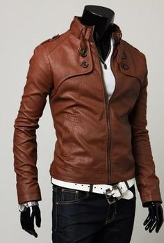 Mens Motorcycle Biker Vintage Brando Leather Jacket,cafe racer ...