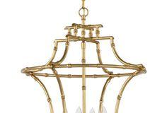 Bamboo 4-Light Chandelier, Antiqued Gold