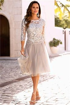 A-Line/Princess Jewel Knee-length Tulle Lace Mother of the Bride Dress