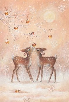 Festive and unique Merry Christmas cards from Leanin' Tree feature original holiday card designs and delightful verses. Christmas Scenes, Christmas Deer, Christmas Past, Retro Christmas, Christmas Greetings, Winter Christmas, Christmas Wrapping, Christmas Colors, Images Noêl Vintages