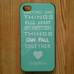 For iPhone 4 Case - Protective Case for iPhone 4/4s Case Marilyn Monroe Quote Love Turquoise:Amazon:Cell Phones & Accessories
