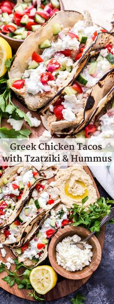 If you love Greek food and tacos you won't be able to resist these Greek Chicken Tacos with Tzatziki and Hummus! Fresh, healthy and loaded with all your favorite Greek flavors! chicken dinner Greek Chicken Tacos with Tzatziki and Hummus - Recipe Runner Healthy Eating Tips, Healthy Recipes, Healthy Food, Healthy Dinners, Delicious Recipes, Easy Meals, Hummus Recipe, Recipes With Hummus, Greek Food Recipes