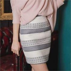 Patterned Wool Blend Mini Pencil Skirt