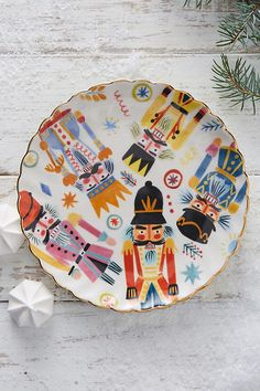 Noel Canape Plate. Hand painted festive inspired stoneware by Quill & Fox.