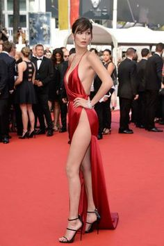 Bella Hadid bared a lot of leg in a sexy Alexandre Vauthier dress at the 2016 Cannes Film Festival.