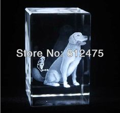 birthday gift,Crystal cube with 3D laser dog home decoration,Crystal image paperweight $28.99
