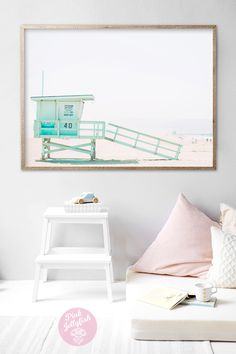 Sunning life guard tower beach print from PinkJellyfish. Available as a print & ship or digital download.