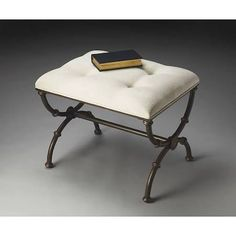 Butler Specialty 2900025 Metalworks Bench in White Upholstered/Black Metal Base