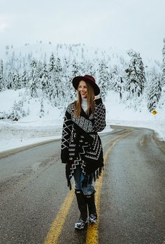 Blogger Bella Bucchiotti of xoxoBella is wearing a California Moonrise sweater, F21 hat and Hunter boots at Mt. Baker. Photo by Braedin Toth