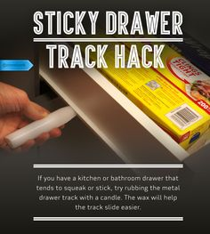 Before you buy expensive metal lubricant, rub candle wax on your stick-prone sliding drawer tracks. #SaveMoney #DIYHome #HouseholdTips #DrawerTrackTrick #WaxFix
