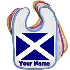 Scotland Flag / Saltire Personalised Baby Bib (Blue, Pink, Yellow or White) BabySmiles http://www.amazon.co.uk/dp/B00L2J4HQG/ref=cm_sw_r_pi_dp_q7i5vb04EM67V