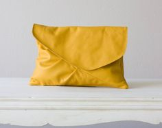 Canary yellow leather oversized clutch  envelope  handbag by milloo, $92.00