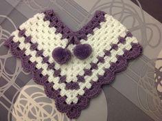Poncho Bébé ou Reborn Blanc et Violet Taille 1 à 3 Mois : Mode Bébé par coeur-de-layette
