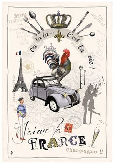 French Kitchen Dish//Tea Towel Moulin Rouge Bal  100/% Cotton Made In France