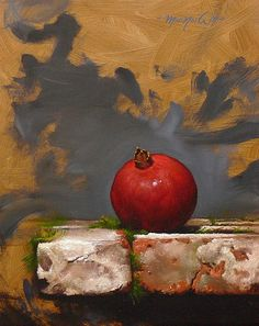 Brian MacNeil Pomegranate on Stone Slab century Painting Still Life, Still Life Art, Pomegranate Art, Oil Painting Pictures, Different Kinds Of Art, Prophetic Art, Fruit Painting, Fruit Art, Painting Lessons