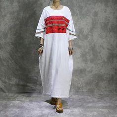Cotton linen dress the retro loose robes