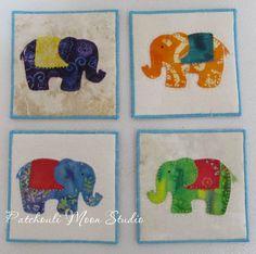 Patchouli Moon Studio: Applique Elephant Coasters